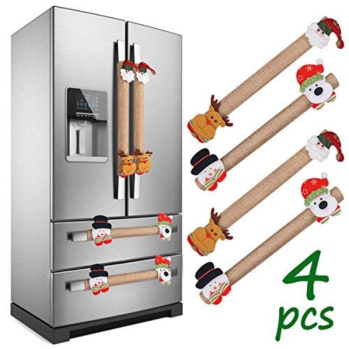 LimBridge Set of 4 Christmas Burlap Decorations 3D Refrigerator Door Handle Cover, Double Door Fridge, Kitchen Microwave Dishwasher Handle D¨¦cor -