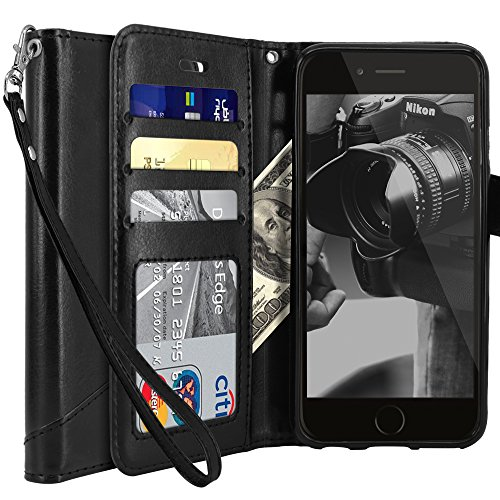 Price comparison product image iPhone 6 Plus case, iPhone 6S Plus Case, Tocol [Stand Feature] Premium PU Flip Leather Wallet Protective Case Cover Magnetic Closure With Card Slots for Apple iPhone 6 Plus / iPhone 6S Plus - Black