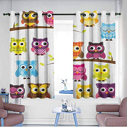 HOMEDD Curtains for Bedroom,Nursery Set of Patchwork Quilt Style Owls on Branches with Green Leaves Bird Mascots Print,Great for Living Rooms & Bedrooms,W63x72L Multicolor