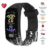 Fitness Tracker, ZEERKEER Activity Tracker with ECG PPG Blood Pressure Sleep Monitor,Heart Rate IP67 Waterproof Bluetooth Smart Bracelet, Smart Watch for Men, Women