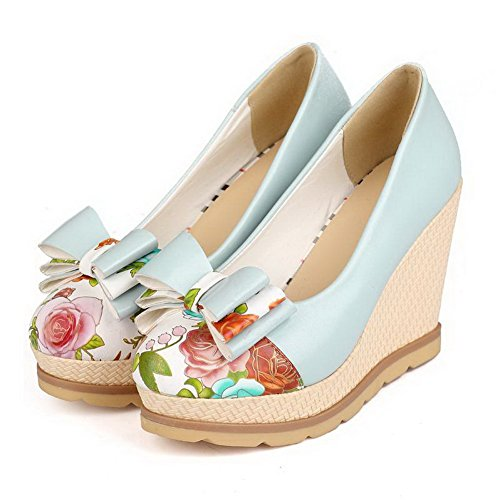 AmoonyFashion Womens PU High-Heels Round Closed Toe Assorted Color Pull-on Pumps-Shoes Blue 1py9X5r