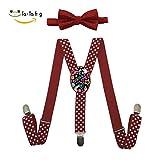 Xiacai Colorful Love Suspender&Bow Tie Set Adjustable Clip-On Y-Suspender Boys
