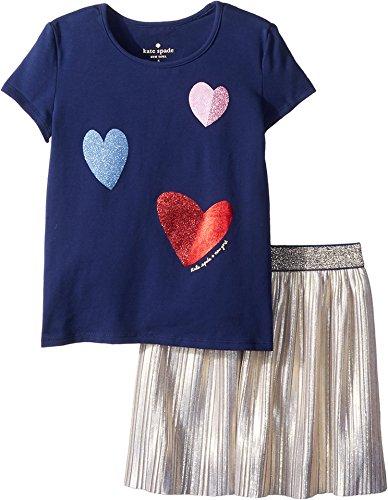 Kate Spade New York Kids Baby Girl's Tossed Hearts Skirt Set (Toddler/Little Kids) New Navy 6