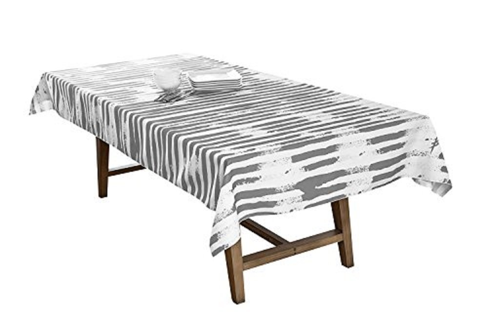 BottleCloth Mod Stripe Eco Modern Tablecloth Washable Indoor/Outdoor Spill Resistant Recycled Woven Fabric Table Linen 60'' x 60'' Square Steel Grey