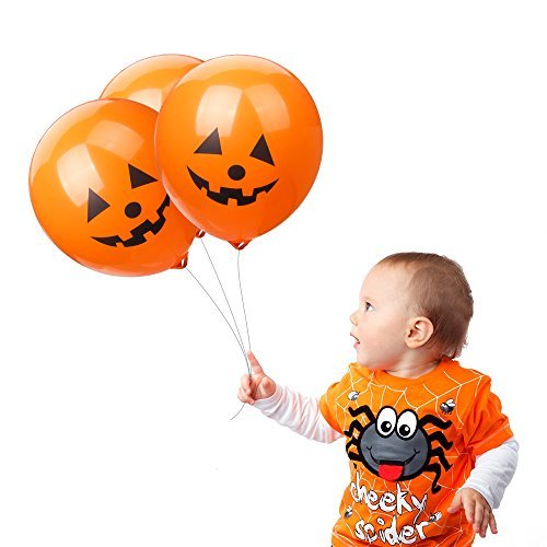 LOKMAN Halloween Balloons, 100pcs 12 Inches Ultra Thickness Pumpkin Latex Balloons for Happy Halloween's Day, Holiday Season Party Decoration (Pumpkin) -