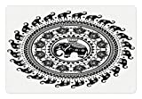 Ambesonne Elephant Mandala Pet Mat for Food and Water, Seven Royal Symbols and a Guardian of Temples Spirit Animal Circle, Rectangle Non-Slip Rubber Mat for Dogs and Cats, Black and White