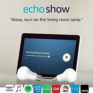 Echo Show (2nd Gen) with Philips Hue Bulbs - Alexa smart home starter kit - Sandstone