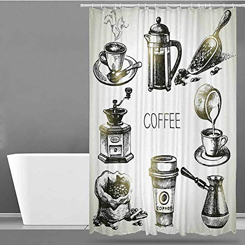 VIVIDX Polyester Fabric Shower Curtain,Coffee,Brewing Equipment Doodle Sketch Grinder French Press Plastic Cup Scoop Vintage,for Master, Kid's, Guest Bathroom,W55x84L Black Yellow