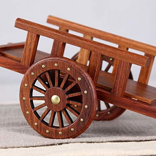 LIANGJING Rosewood Carving Dekoration Massivholz Miniatur-Flachwagen Bauernwerkzeug Miniaturmodell
