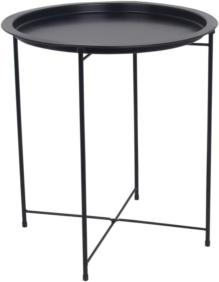 Home Basics , Matte Black Foldable Round Multi-Purpose Metal Side Accent, Coffee, End Table for Bedroom, Living Room
