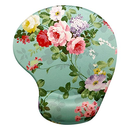 Memory Foam Mousepad with Wrist Support, Floral Gorgeous Flower Unique Design Ergonomic Mouse Pad Wrist Rest, Super Non-Slip PU Base