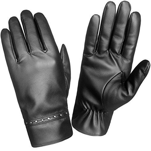 LETHMIK Winter Driving Leather Gloves Womens Touchscreen Texting Fleece Lined with Rivet Cuff (Rivet Women Leather Cuff)