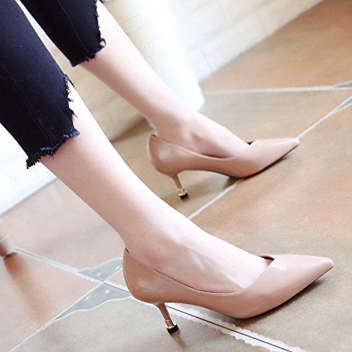 Avec De Chaussures Noir Bien Talons Pointu Printemps Très Chaussures Les Les Femelle Le Match Chaussures Toutes Avec Chat ZHUDJ Pink Est UXxnP0P8
