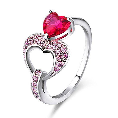 (Veunora Ladies' 925 Sterling Silver Created 6x6mm Heart Cut Ruby Spinel Filled Gift Ring Size 6 )