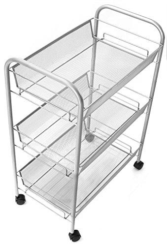 Esylife 3 Tier Metal Mesh Rolling Cart Utility Cart