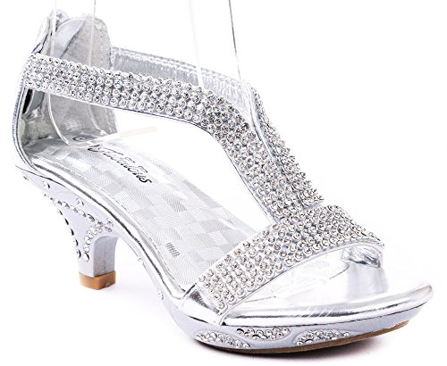 Fabulous Wedge - JJF Shoes Fabulous Girls Lety-73K Fashion Rhinestone T-Strap Platform Dress Heel Sandals,Silver,9