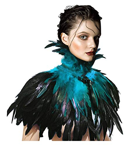 L'VOW Black Gothic Victorian Natural Feather Cape Shawl Stole Poncho with Choker Collar (Acid Blue)]()