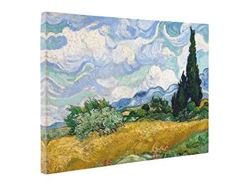 Niwo Art - Wheat Field with Cypresses, by Vincent Van Gogh - Oil Painting Reproductions - Giclee Canvas Prints Wall Art for Home Decor, Stretched and Framed Ready to Hang ()