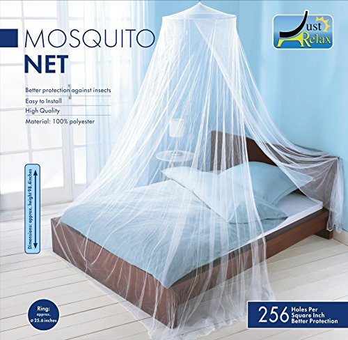 MOSQUITO NET by Just Relax, Elegant Bed Canopy Set Including Full Hanging Kit, Ideal For Indoors or Outdoors, Intended For a Perfect Fit for Covering Beds, Cribs, Hammocks (White, - Net Bug Protection Mosquito