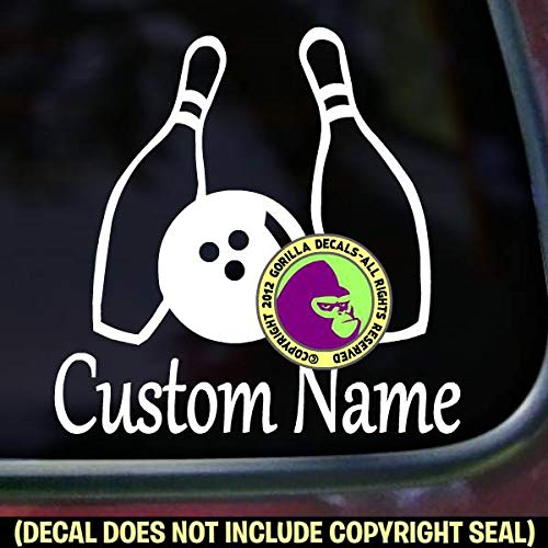 Bowling ADD YOUR NAME or CUSTOM WORDS Diving Vinyl Decal Sticker A