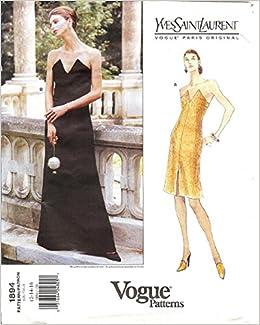 17f44cf8d92 Vogue Paris Original, Yves Saint Laurent Sewing Pattern 1894, Misses Dress,  Sizes 12, 14, 16 Bust 87, 92, 97cm 34, 36, 38