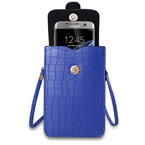 Sumaclife Vertical Shoulder Bag for Samsung Galaxy J7 / S7 Edge / S7 / S6 Edge / S6 Edge Plus / S6 Active / A5 / A7 / A8 / A9 / E5 / E7 / Grand Max / Neo Plus (Blue)