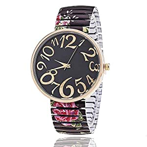 JUYIN Teacher Teen Young Girls Children Kids Watches,Fashion Watch GeneIG stretch Colorful Flower Resin Band,dial floral printed for Lady Women