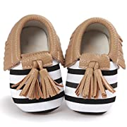 Voberry® Infant Toddlers Baby Boys Girls Soft Soled Tassel Crib Shoes PU Moccasins (0~6 Month, Brown stripe)