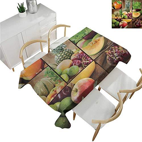 Salad Microfiber (familytaste Nature,Microfiber Tablecloth,Fruits Salad Themed Watermelon Pineapple Apple Cherries Juice Collage Art Print,Suitable for Kitchen 60
