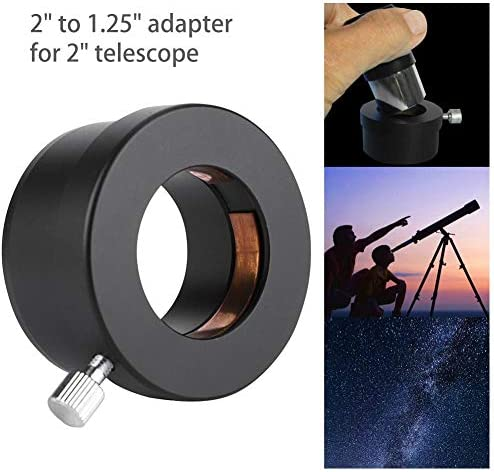 "2 to 1.25 Telescope Adapter,2"" to 1.25"" Telescope Eyepiece Mount Adapter Black Metal Accessories Adaptor"