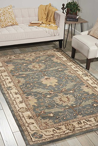 Nourison India House (IH75) Blue Rectangle Area Rug, 3-Feet 6-Inches by 5-Feet 6-Inches (3'6