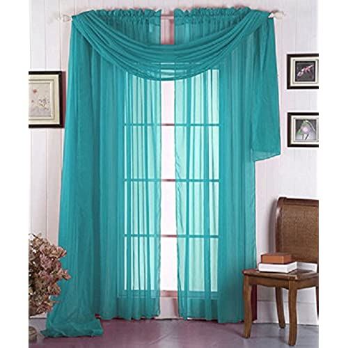Luxury Discounts Beautiful Elegant Solid Turquoise Sheer Scarf Valance Topper 38 X 216 Long Window Treatment Scarves