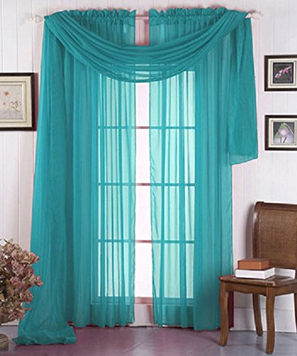 Luxury Discounts Beautiful Elegant Solid Turquoise Sheer Scarf Valance Topper 38