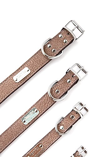 Pictures of Mighty Paw Leather Dog Collar Super Soft Light Brown 2
