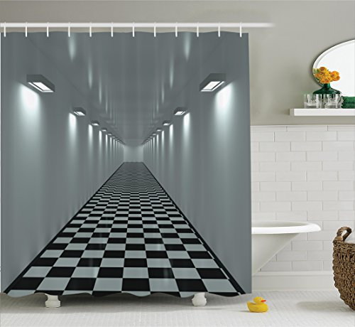 Ambesonne Apartment Decor Collection, Long Corridor Ceiling Lights Tiled Floor Minimalistic Design Office Interior Art , Polyester Fabric Bathroom Shower Curtain, 84 Inches Extra Long, Grey Black