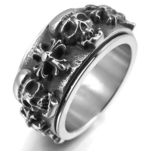 INBLUE Men's Stainless Steel Ring Silver Tone Black Cross Skull Moving Size12