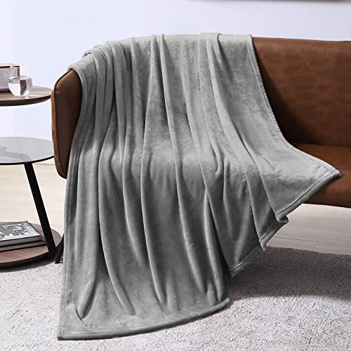 EXQ Home Fleece Blanket Grey Throw Blanket for Couch or Bed - Microfiber Fuzzy Flannel Blanket for Adults or Kids (Microfiber Light Couch Grey)