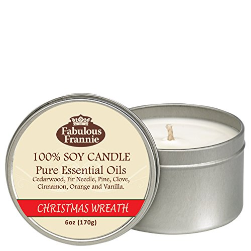 Christmas Wreath All Natural Soy Candle 6oz by Fabulous Frannie