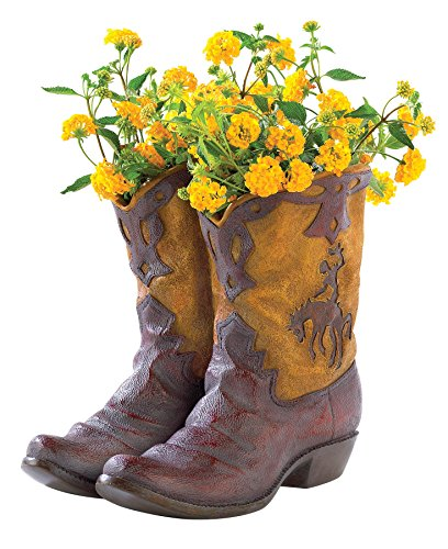 Gifts & Decor Western Theme Garden Decor Cowboy Boot Planter Outdoor ()