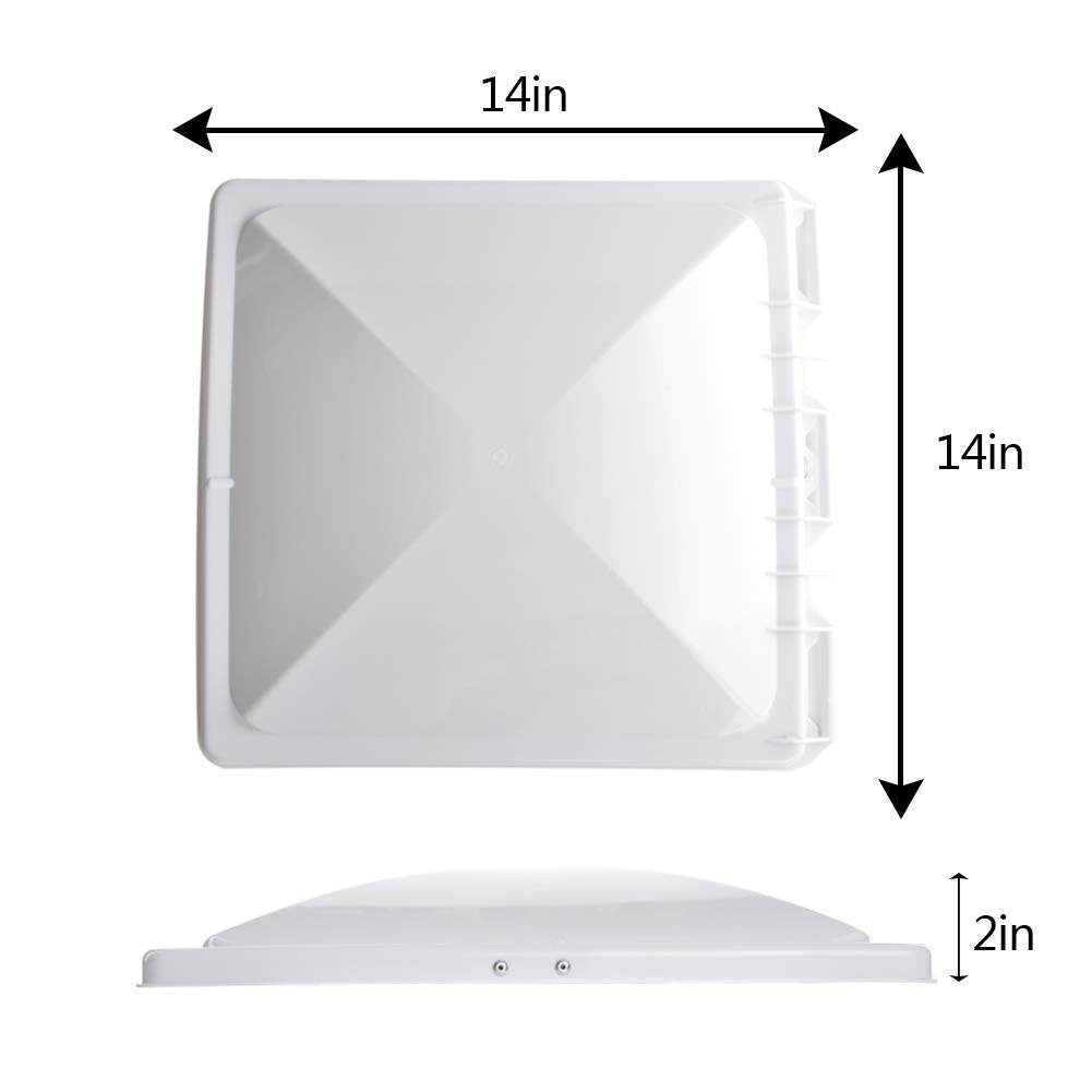 HOMEE RV Roof Vent Cover 14x 14 Universal Replacement Vent Lid Impact-Resistant Vent Line Fan Lid for Camper Trailer Motorhome HMTFG001