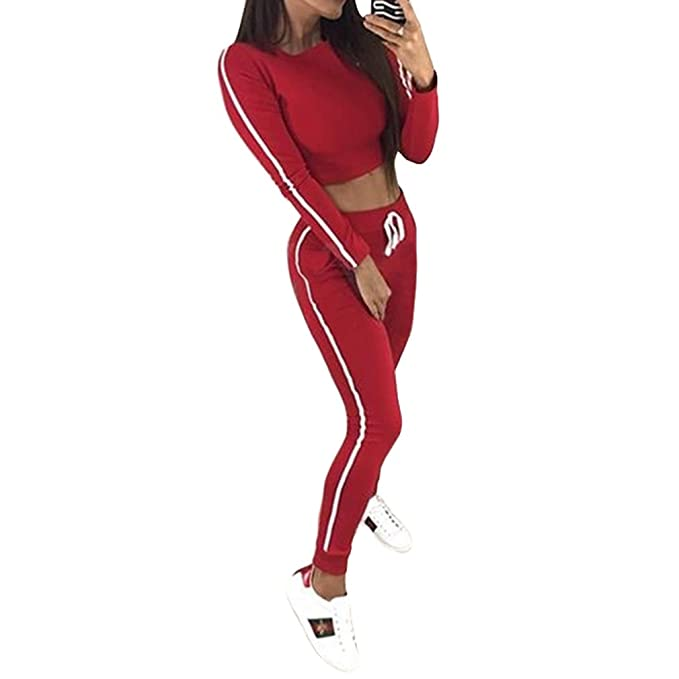 junkai Traje De Ropa Deportiva para Mujer Blusa De Manga Larga Tops De  Cultivo Pantalones 7a4e90b222c3