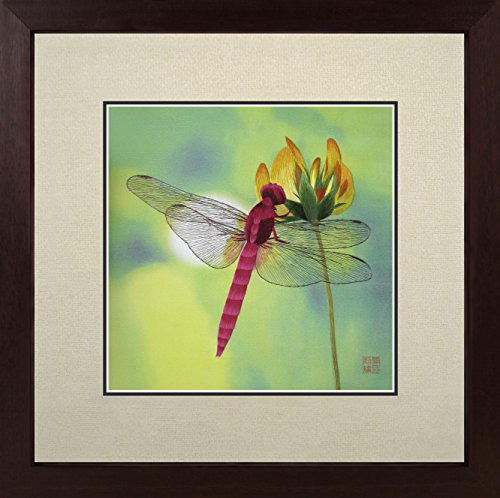 (King Silk Art 100% Handmade Embroidery Multiple Framed Magenta Dragonfly Kisses A Yellow Flower Oriental Wall Hanging Art Asian Decoration Tapestry Artwork Picture Gifts)