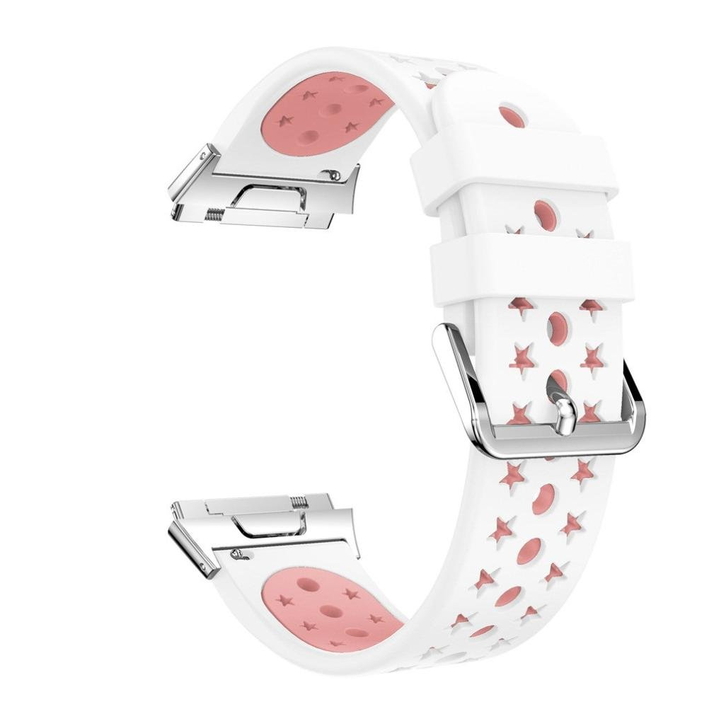 For Fitbit Ionicバンド軽量通気シリコン穴あきストラップ、aritone交換スポーツシリコン時計バンドfor Fitbit Ionic ピンク ピンク B076JBRRNT