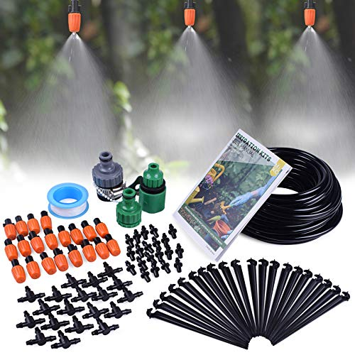 "MIXC 1/4-inch Mist Irrigation Kits Accessories Plant Watering System with 50ft 1/4"" Blank Distribution Tubing Hose, 20pcs Misters, 39pcs Barbed Fittings, Support Stakes, Quick Adapter, Model: GG0B ()"