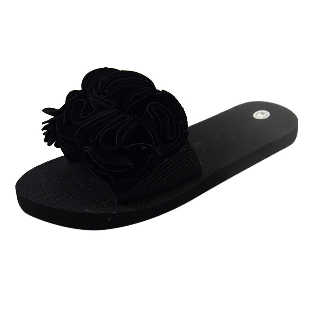 YEZIJIN Hot Sale! Women's Bohemian Flower Flat Slippers Summer Sandals Non-slip Beach Shoes Slipper Heels Platform Flats Shoes for Women Ladies Girl Indoor Outdoor Clearance 2019 Best