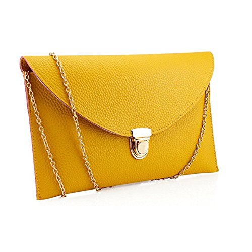 Amaze Fashion Women Handbag Shoulder Bags Envelope Clutch Crossbody Satchel Tote Purse Leather Lady Bag (Yellow)