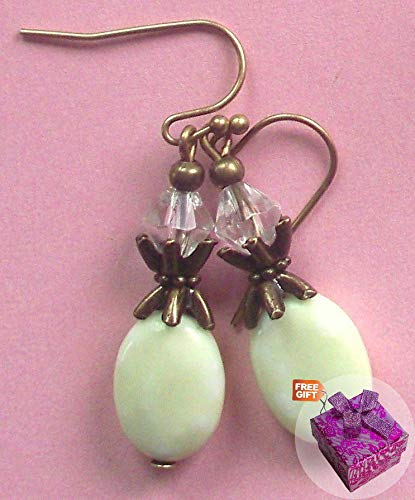 (Flower Jasper Bicone Crystal Earring Bronze Ball Hook Handcrafted Rhinestone Earrings For Women Set + Gift Box For)
