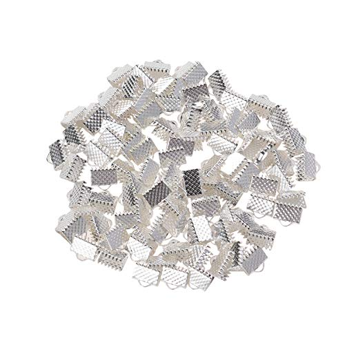 - SUPVOX 100PCS Silver Plated Ribbon Ends Fastener Clasps Textured Clamps Cord Ends 8mm