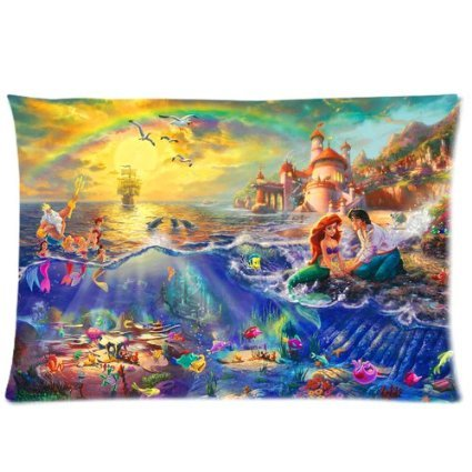 """Hoomin Lovely The Little Mermaid Custom Zippered Rectangle Pillow Case Pillowcases Size:16""""x 24"""" (Two Sides)"""