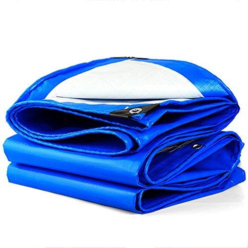 凶暴な統計的JIANFEI オーニング 効率的な 防水 日焼け止め 高品質 ポリエチレン 160G/m2、 厚さ0.29MM、 オプション21サイズ (色 : ブルー+ホワイト, サイズ さいず : 2m × 2m)